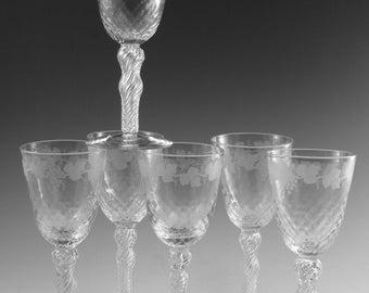 ANTIQUE WINE Glass / Glasses - Fruiting Vine Pattern (E) - Powell - Set of 6