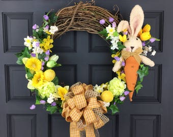 Easter Wreath for Front Door - Easter Bunny Wreath - Free Wreath Shipping - Easter Decor Decor - Spring Door Decor - Easter Bunny Wreath