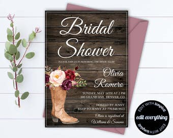Country Bridal Shower Invitation - Southern Bridal Shower Invite - Printable Invitation - Rustic wedding shower invite - Country Wedding