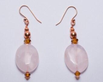 Quartz and Rose Gold Beaded Earrings