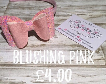 Blushing pink bow headband