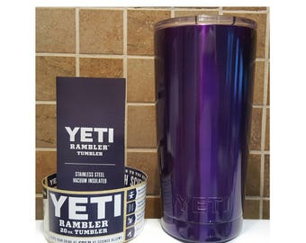 YETI - Authentic Metallic PURPLE 20 oz Rambler Tumbler Powder Coated Yeti Cup Mug Dark Purple 20oz Small painted colored Shiny purple Yeti