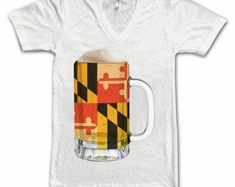 Ladies Maryland State Flag Beer Mug Tee, Home Tee, State Pride, State Flag, Beer Tee, Beer T-Shirt, Beer Lovers Tee, Beer Thinkers, Fun Beer