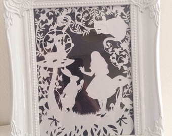 Alice in wonderland paper cut, alice, cheshire cat