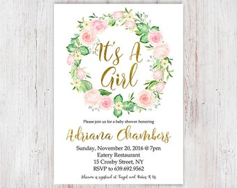 It's a Girl Baby Shower Invitation in Pink & Gold Floral Wreath Sparklefly Paperie 4