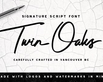 Twin Oaks Font - Photography Logo - Watermark, Signature Script Font, Brush Typeface, Handwritten Lettering, Script Calligraphy