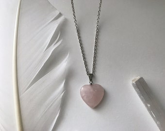 Rose Pink Heart Stone Necklace