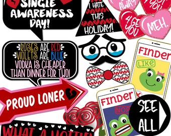 Anti-Valentine's Day Photo Booth Props - 34 Printable Party Props, Broken Heart, Candy Hearts, Arrows, Lips, Single - INSTANT PDF DOWNLOAD
