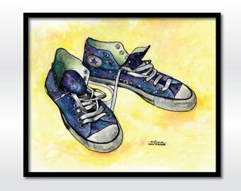 Galaxy Shoes Watercolor