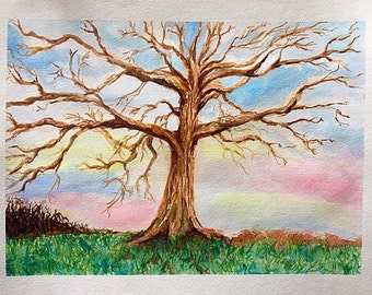 Watercolor painting of a tree original painting by Stephanie Riely