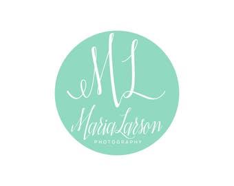 Circle Logo / Initials Logo / Monogram Logo / Small Business Logo / Makeup Artist Logo / Script Logo / Mom Logo / Wedding Logo Design