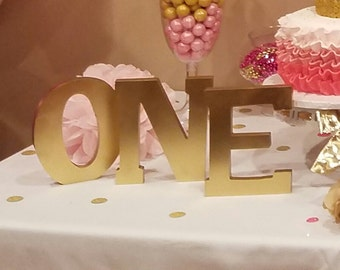 "Gold ""ONE"" Letters. Baby 1st Birthday Decoration. First Birthday Photo Prop. Wooden Letters."