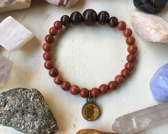 Red Jasper and Wood with a charm