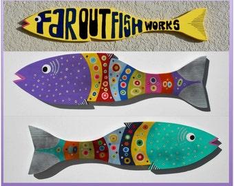 Far Out Fence Slat Fish (1 Large Size - Choose Purple or Aqua)