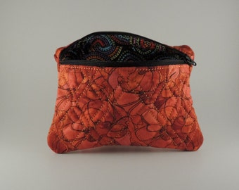 Embroidered rectangle lined zipper bag, flower print fabric
