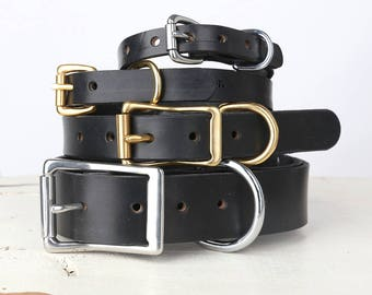 Black Leather Dog Collar -- Classic Belt Buckle Style