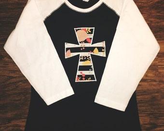 Floral Cross Applique Shirt