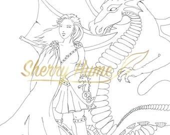 Dragon Warrior Princess Colouring Page