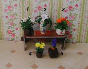 Flowers. Floral bouquet.Flowers in a cache-pot. Miniature Dollhouse. 1:12 Scale