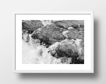 Water on Rocks Texture Abstract Art Print // Aqueous-1
