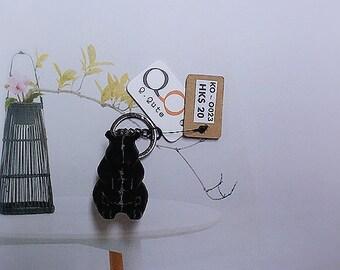 Bear 3D Print Keychain - Black