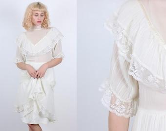 70s Boho Dress // Vintage Off-White Lace Prairie Dress Sheer Knee Length High Neck - Large