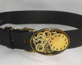 VINTAGE Leather Belt with Unique Clock Design