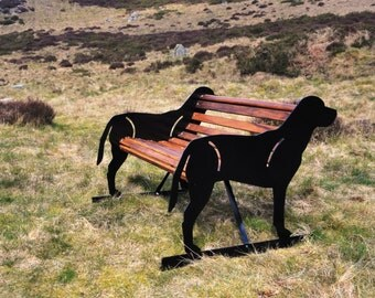 Hand-Crafted Labrador Themed Garden Bench - Unique Garden Furniture - Labrador Gift Ideal for Birthday and Anniversary Present