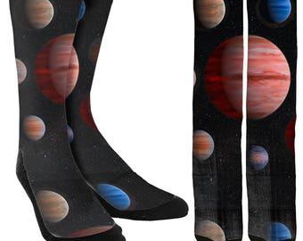 Planet Crew Socks - Galaxy Socks - Universe Socks - Space Socks - Cool Socks - Unique Socks - Novelty Socks - 100% Comfort - FREE Shipping