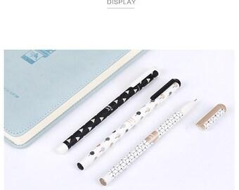 Set of 3 Monochrome Gel Ink Pen 0.5mm - Geometry Pen - Cute Kawaii Pen - Everyday Life