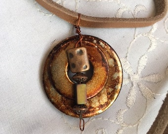 Upcycled Hand Stained, Alcohol Ink Double Washer Pendant With Metal Beads-GIfts For Her-Made In Canada