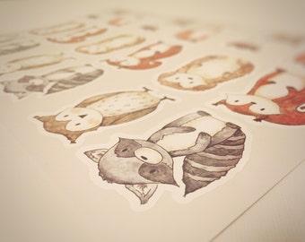 Woodland sticker little animals Deer, Owl, Squirrel, Raccoon, Hedgehog, Forest Stickers, Forest Animals wall decals, Woodland Baby Shower