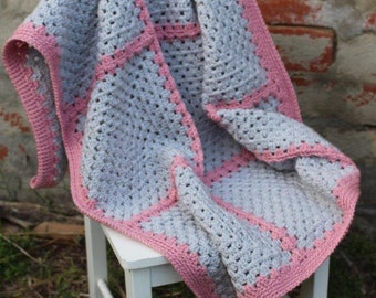 Crochet baby blanket, baby blanket, lap blanket, pram blanket, crochet blanket, grey and pink blanket, Granny Square blanket, ready to ship