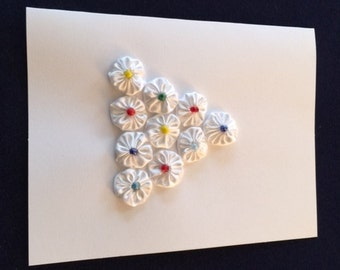 Greeting Card with White Flower Design