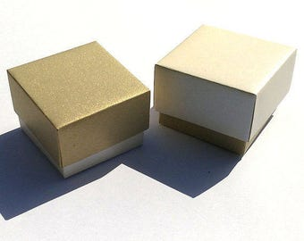 10 Paper boxes / Gold and Pearl boxes/ Paper Boxes/ Wedding favor box/ Packaging box/ Bridesmaid Gift box/ Jewelry Packaging Boxes