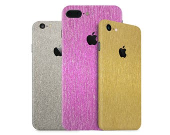 3D Glitter Shining Brushed Metal Phone Skin Wrap Decal for the iPhone 7, 7 Plus, 6, 6s Plus, 5/5s/5c/SE & 4 in Multiple Colors
