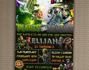 Plants Vs. Zombies Invitation, You Print Invitation, Plants Vs. Zombies Birthday, Plants Vs. Zombies Birthday Party Invitation