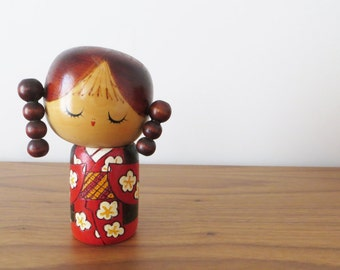 Vintage Japanese Kokeshi Doll with Pigtails