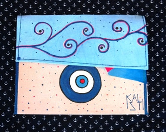 Evil eye hand painted handmade clutch