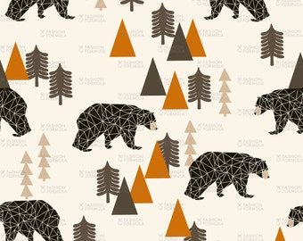Forest Bear Fabric by andrea_lauren
