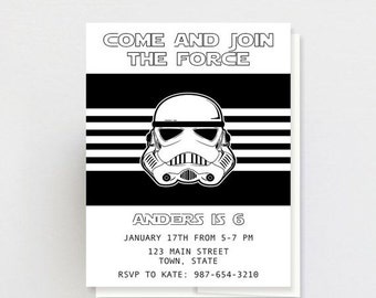 "on sale Storm Trooper Star Wars Birthday Party Invitation, Storm Trooper Star Wars Invite, Star Wars Invitation, Star Wars Invite, 5x7"", PRI"