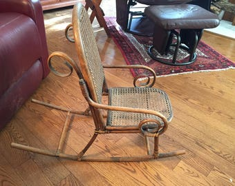 Child's Bentwood Cane Back and Bottom Rocking Chair