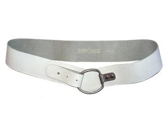 Vintage Real Leather belt white 95 60472