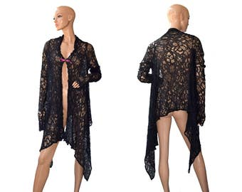 Vintage women mantle black lace lacework cloak