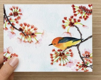 """Watercolor Painting Card - Bird in a Cherry Blossom Tree (blank inside, 4 x 5.5"""")"""