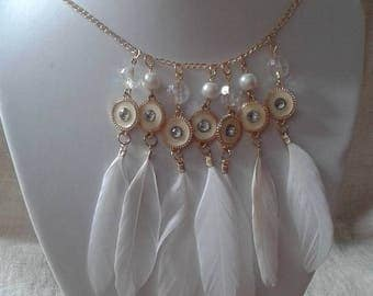 Necklace white feathers