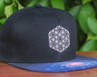 Flower of Life Sacred Geometry Galaxy Brim Strapback Hat