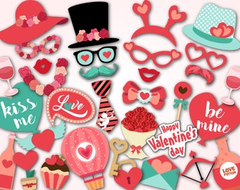 Printable Valentine's Day Photo Booth Props, Valentines Photobooth Props Instant Download Valentines Photo Booth Props Kiss Party Props 0080