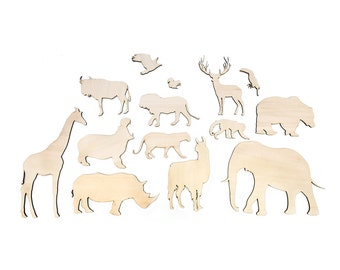 Animals - Wild animals lasercut - raw - Poplars plywoord - Wall decoration