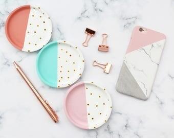 Gold Polka Dot Trinket Dish, Mint Trinket Dish, Coral Trinket Dish, Blush Pink Trinket Dish, Ring Dish, Jewellery Dish, Jewelry Dish